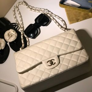 CHANEL Caviar Quilted Jumbo Double Flap Beige